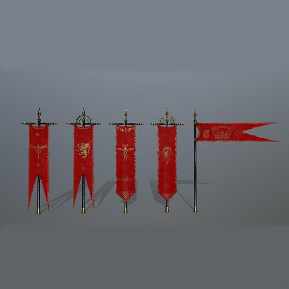 flag set 6 - 3DOcean Item for Sale