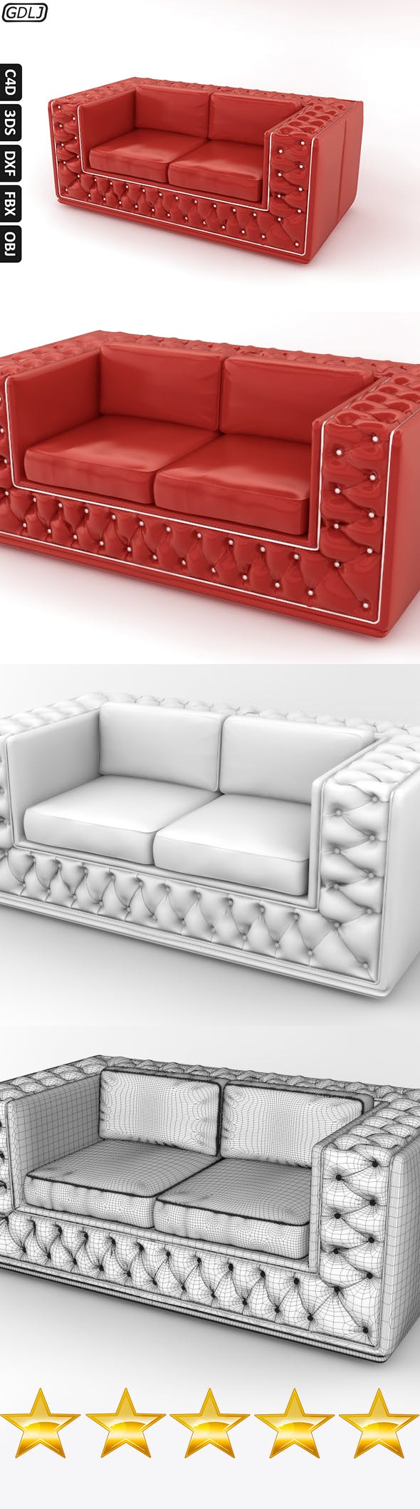 Fashionable leather sofa Red - 3DOcean Item for Sale
