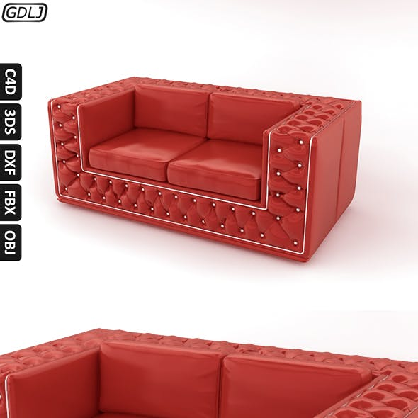 Fashionable leather sofa Red
