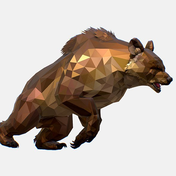 Animated Low Poly Art Brown Bear - 3DOcean Item for Sale
