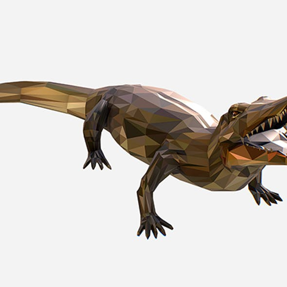 Animated Animal Low Poly Art Crocodile Reptile