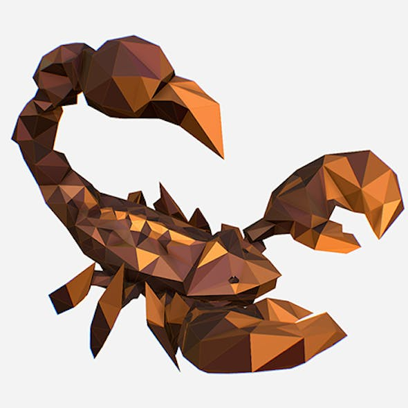 Animated Low Poly Art Brown Scorpion