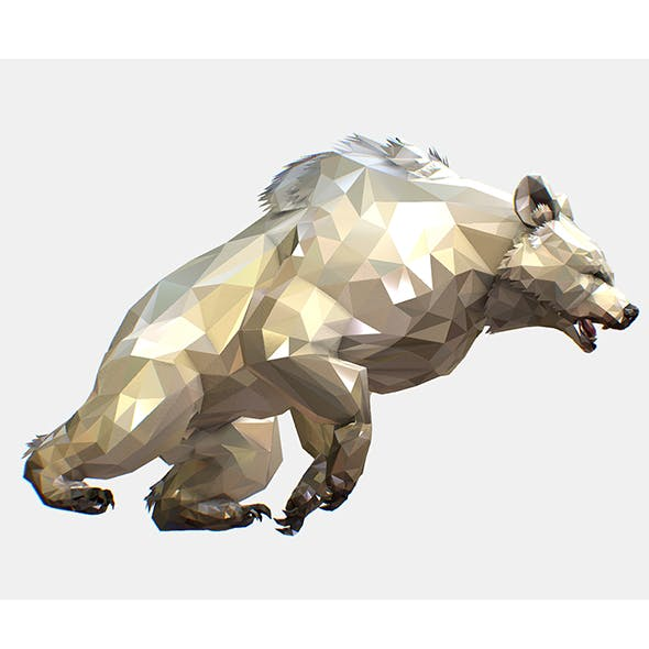 Animated Low Poly Art White Bear