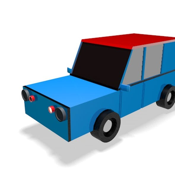 Low Poly City Car 3d Model