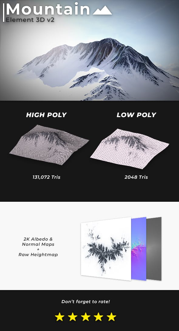 Element 3D Mountain Terrain - 3DOcean Item for Sale