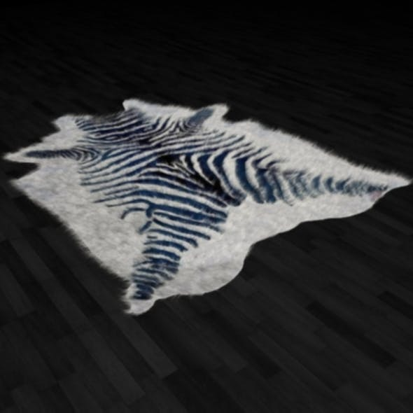 Zebra Skin Fur Rug - 3DOcean Item for Sale
