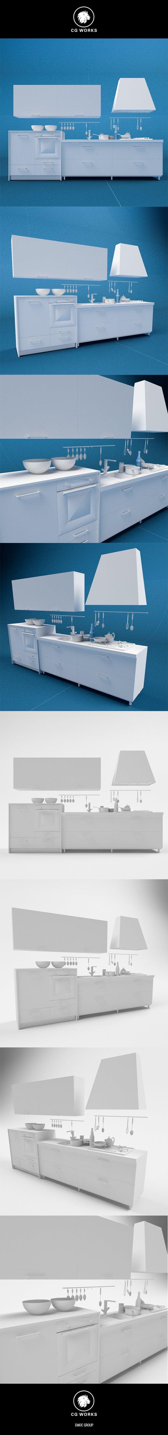 Kitchen 3D C4D & OBJ - 3DOcean Item for Sale