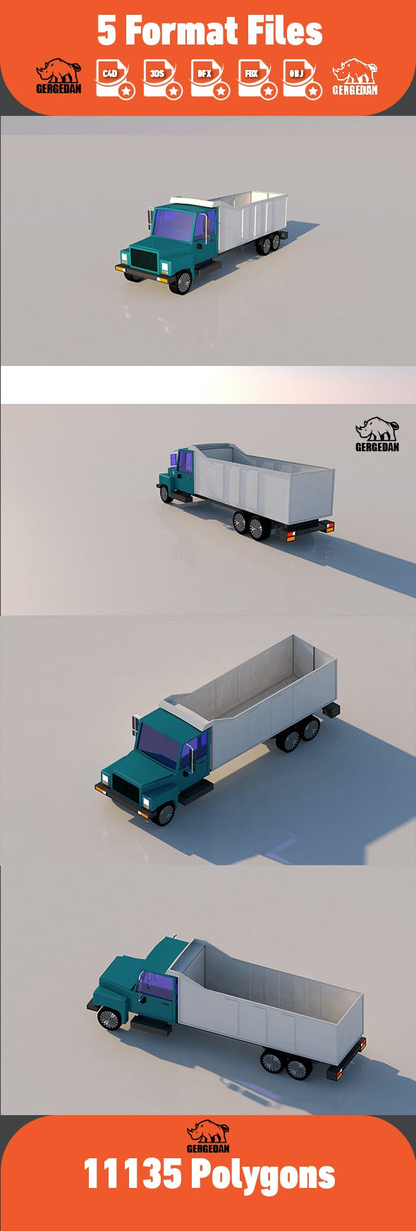 Low Poly Truck-2 - 3DOcean Item for Sale