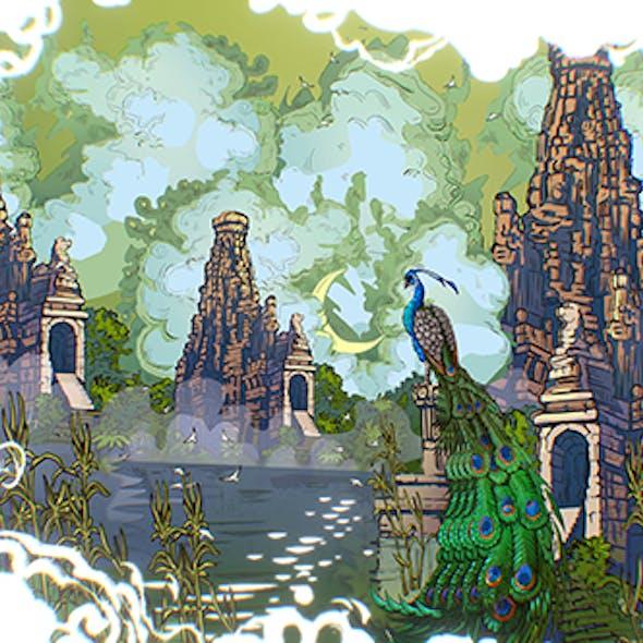 Animated Vector Paralax Landscape Asia Scene