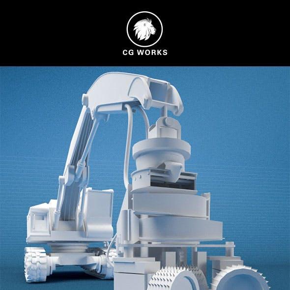 Construction machinery C4D & OBJ XV