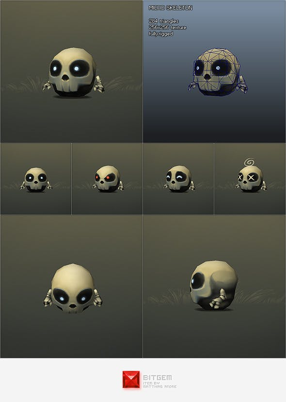 Low Poly Micro Skeleton Tom - 3DOcean Item for Sale
