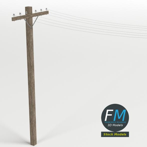 Wooden telephone pole - 3DOcean Item for Sale