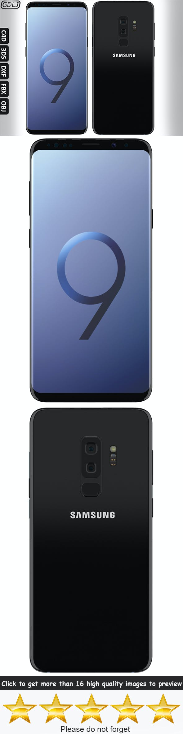 Samsung Galaxy S9 Plus Midnight Black - 3DOcean Item for Sale