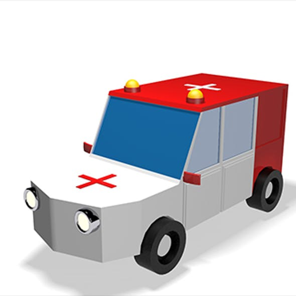 Low Poly Ambulance V2 3d Model