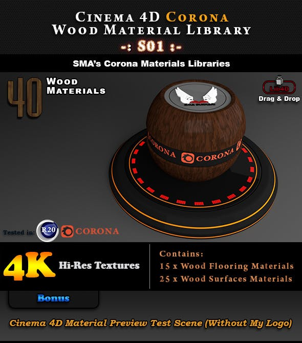 40 x Corona Wood Materials S01 for Cinema 4D - 3DOcean Item for Sale