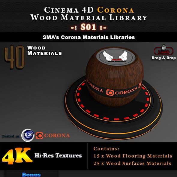 40 x Corona Wood Materials S01 for Cinema 4D