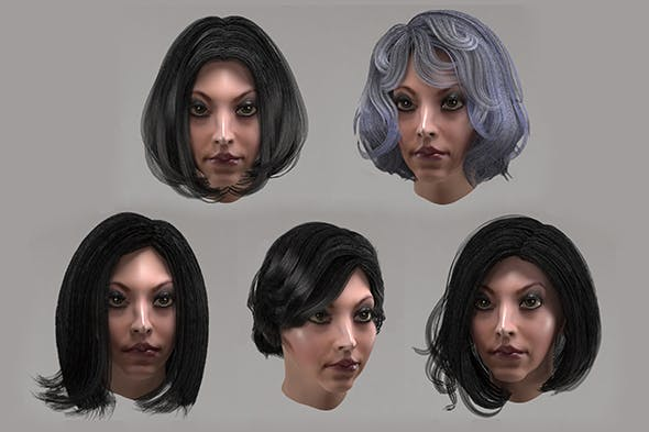 Female hair 10 options Low-poly 3D model - 3DOcean Item for Sale