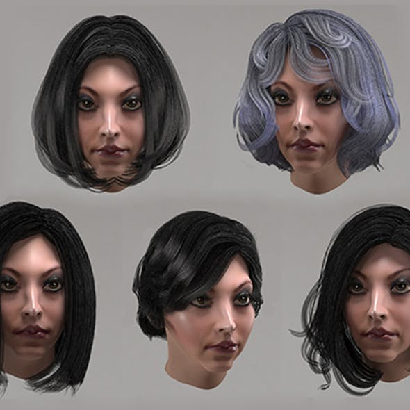 Female hair 10 options Low-poly 3D model