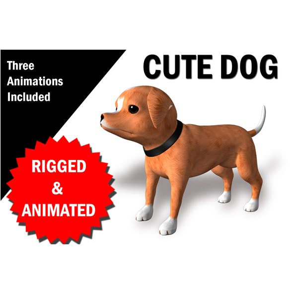Cute Dog CHaracter RIgged and Animated