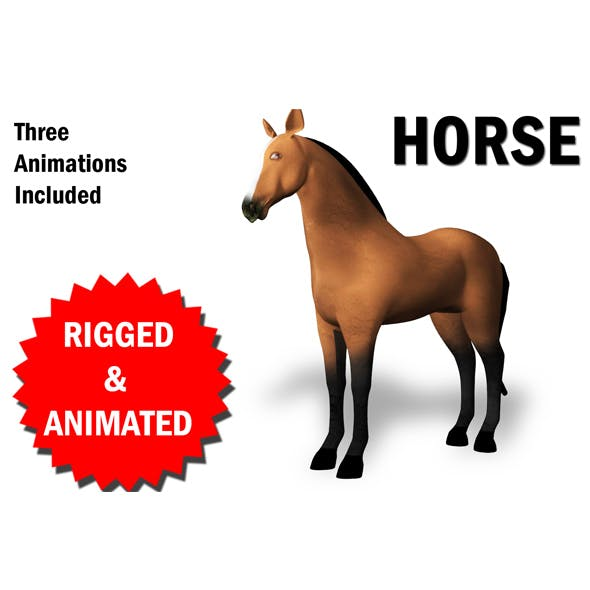 3D Horse Rigged and Animated