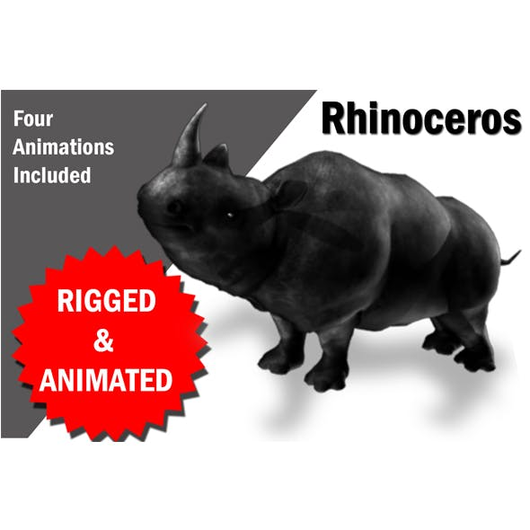 Rhino Rigged and Animated - 3DOcean Item for Sale