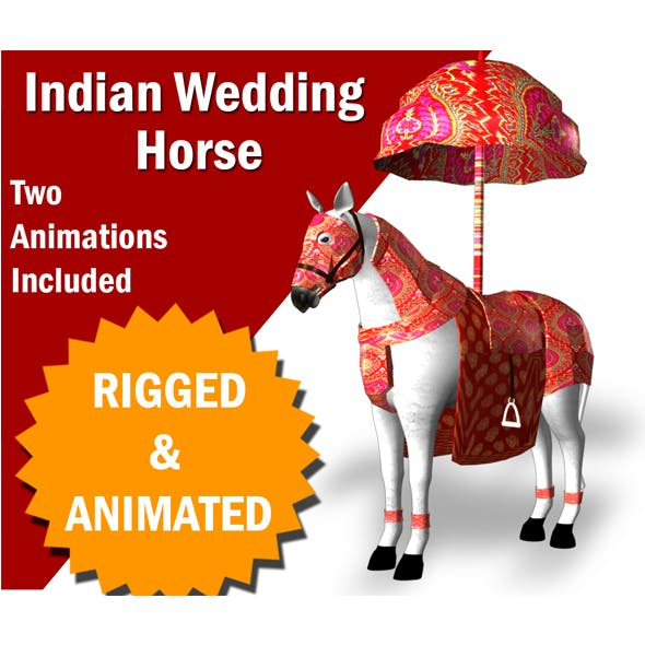 Indian Wedding Horse Rigegd and Animated