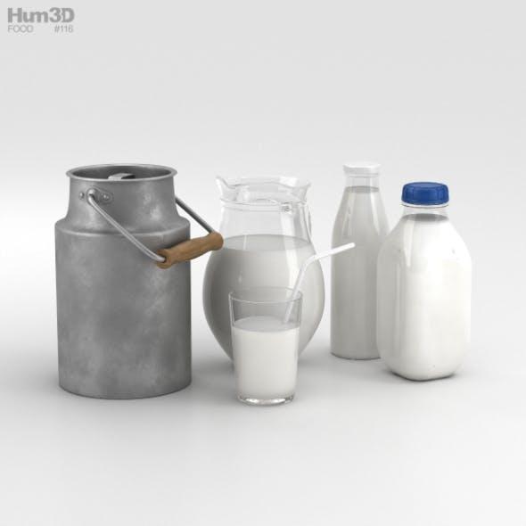 Milk Bottles Set - 3DOcean Item for Sale