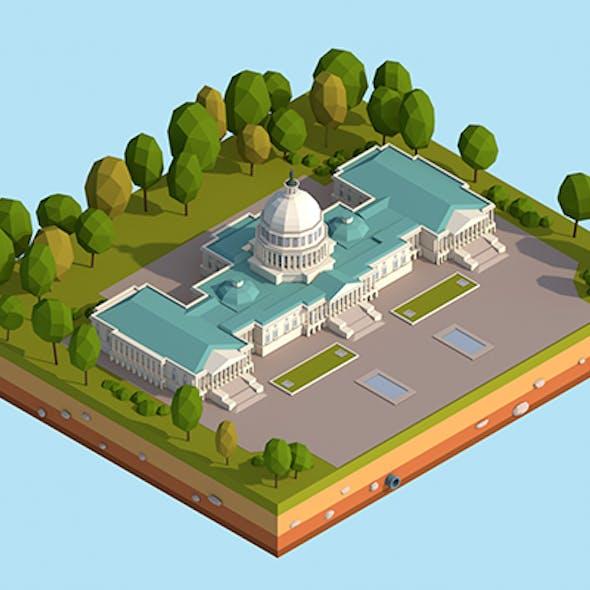 Cartoon Lowpoly United States Capitol Landmark