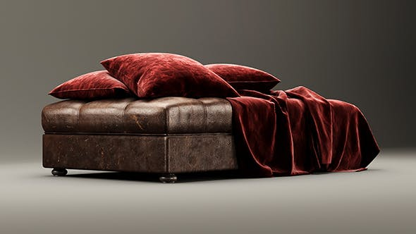 Leather bench ottoman - 3DOcean Item for Sale
