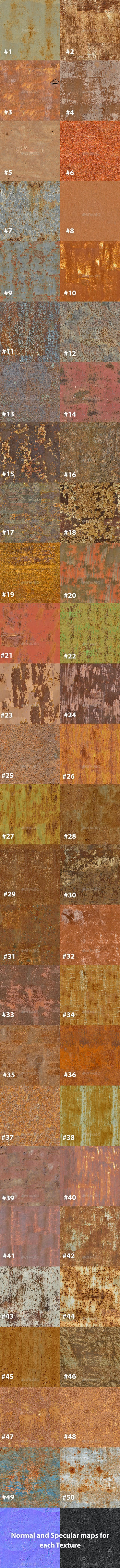 Pack of 50 Seamless Rusty Metal Textures - 3DOcean Item for Sale