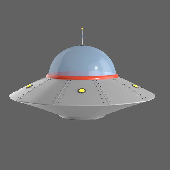 Flying saucer UFO cartoon High and Low Poly