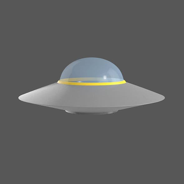 Flying saucer UFO cartoon simple High and Low Poly