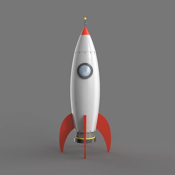 Spaceship rocketship cartoon simple High and Low Poly