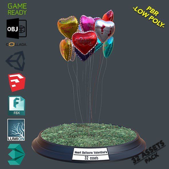 Heart Balloons Valentine Pack1 - 3DOcean Item for Sale