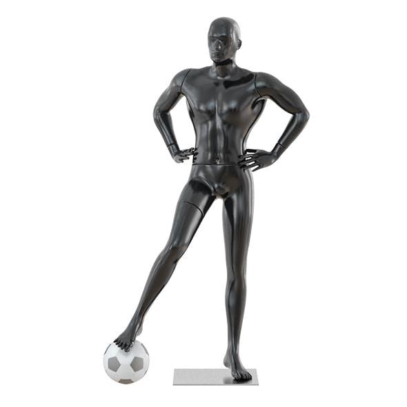 Black mannequin soccer player 34 - 3DOcean Item for Sale