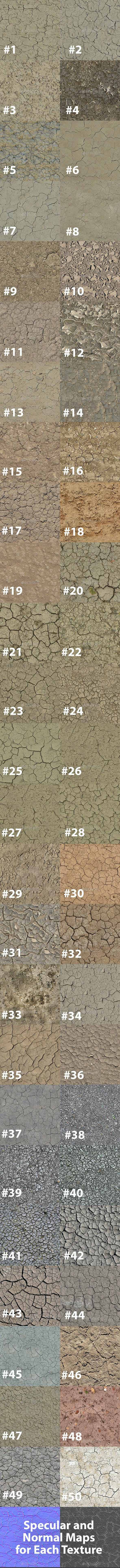 Pack of 50 Seamless Cracked Soil Textures - 3DOcean Item for Sale
