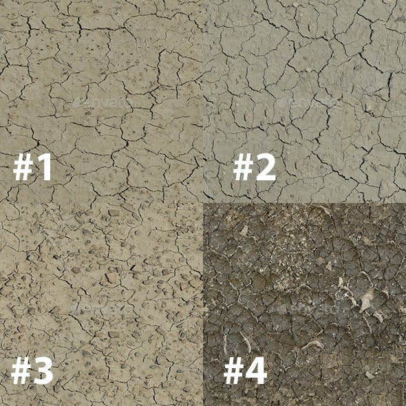 Pack of 50 Seamless Cracked Soil Textures