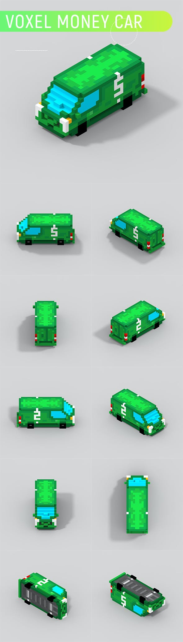 Voxel Money Car - 3DOcean Item for Sale