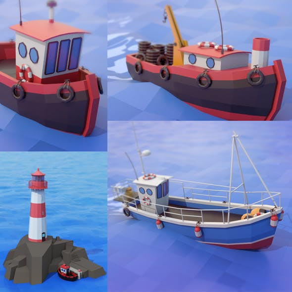 lighthouse and boats - 3DOcean Item for Sale