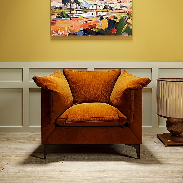 Leather orange armchair - 3DOcean Item for Sale