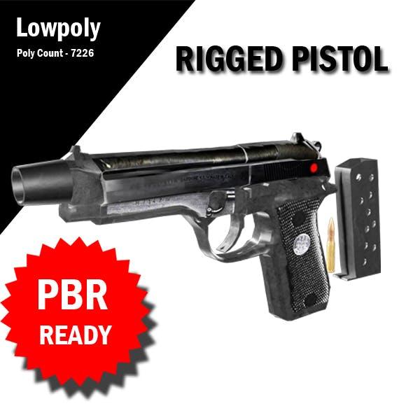 3D Rigged Pistol VR / AR / low-poly 3d model
