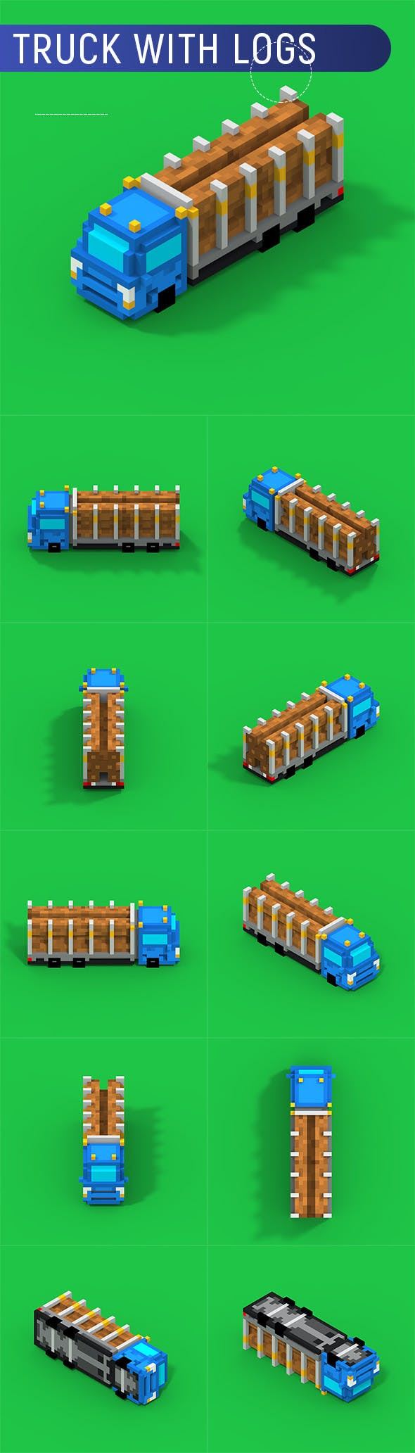 Voxel Truck With Logs - 3DOcean Item for Sale