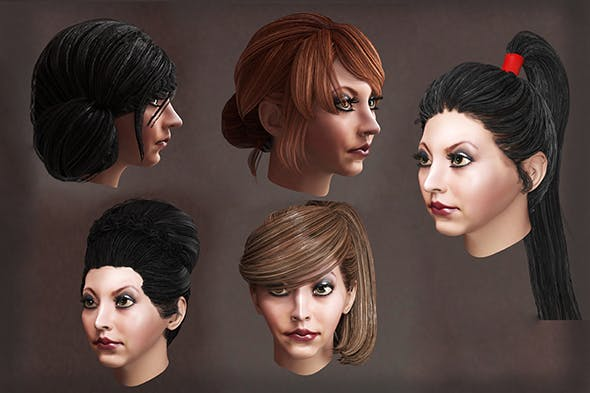 Female high hairstyles lowpoly 10 species - 3DOcean Item for Sale