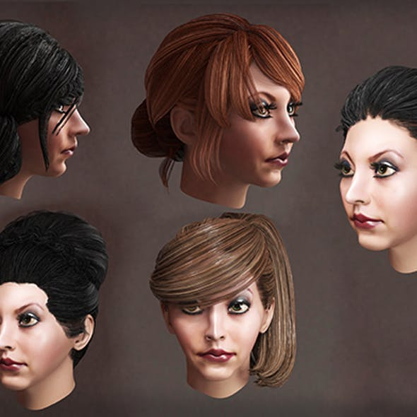 Female high hairstyles lowpoly 10 species