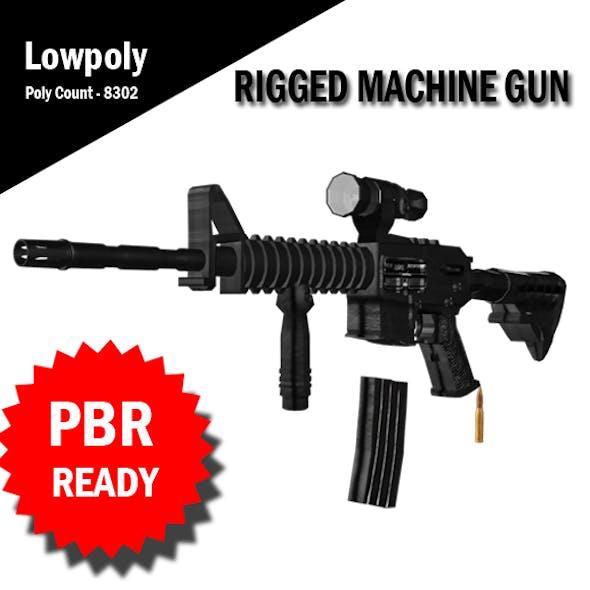 3D Machine Gun Rigged VR / AR / low-poly 3d model