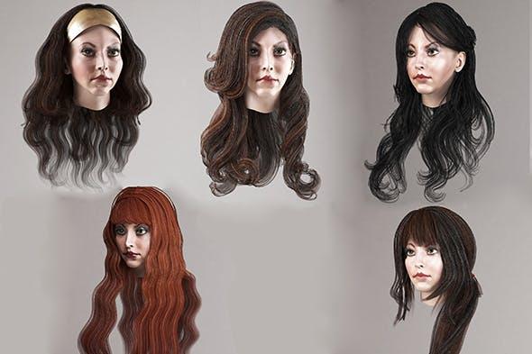 Long female hair 5 species Low-poly - 3DOcean Item for Sale