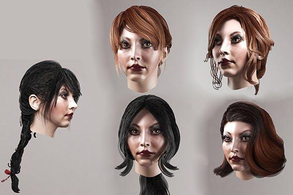 Female hair polygonal (lowpoly) 5 species - 3DOcean Item for Sale