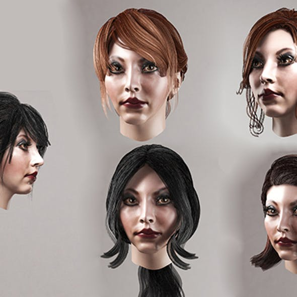 Female hair polygonal (lowpoly) 5 species