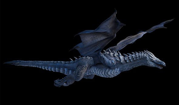Two versions of a high-poly and low-poly rigged and animated Ice dragon. - 3DOcean Item for Sale