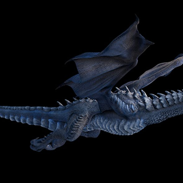 Two versions of a high-poly and low-poly rigged and animated Ice dragon.